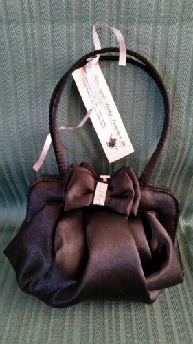 New Black Satin Wedding Bridal Money Bag Clutch Purse Pouch Lillian Rose P406BK