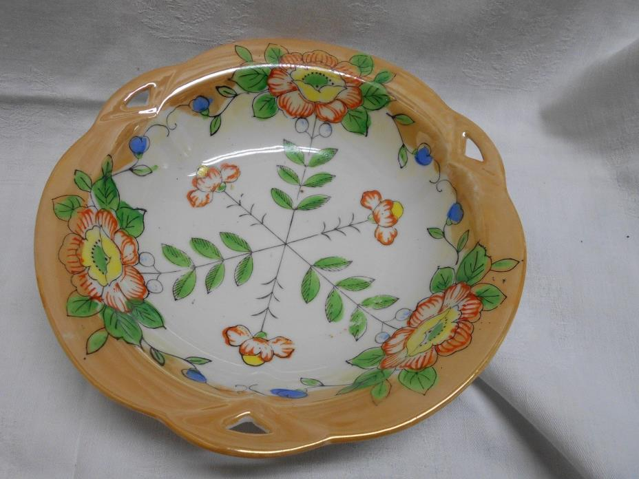 vintage decorative Japan bowl oriental poppies ? floral orange lustre ware
