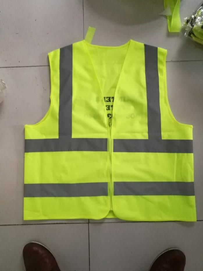 (10) Large Lime Safety Vest Class 2 with Zipper- Lot of 10