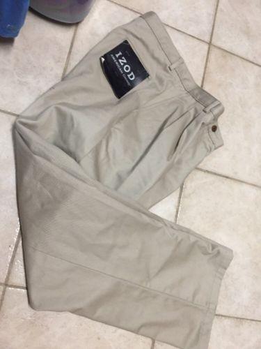 IZOD Chino Khaki Pants boy youth sz 16 Front Pleat 32 x 29 School Uniform HUSKY