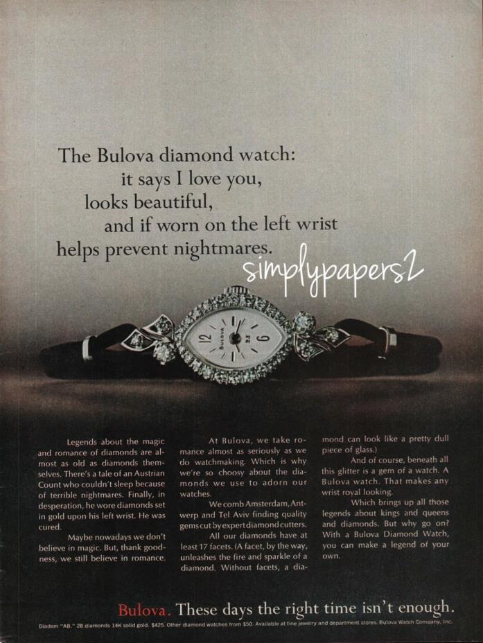 1971 Bulova Diamond Watch It Says I Love You Looks Beautiful Photo Print Ad