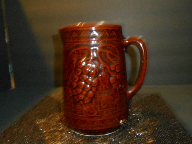 Antique  Pottery Yellow Ware Grape  Motif Brown Pitcher Tankard Stoneware
