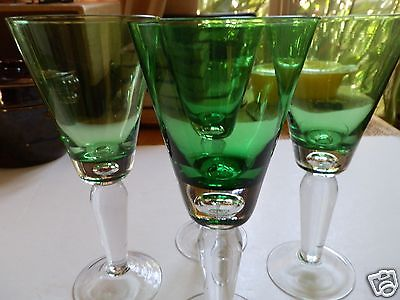 Forest Emerald Green Bubble Glass Tall Footed Iced Tea Goblets