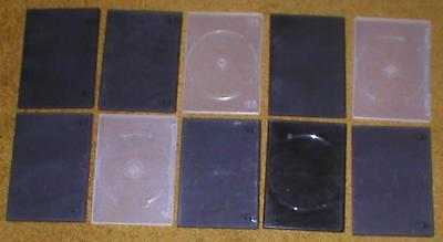 Lot of 10 Empty, Clean, Slim (7mm) DVD Cases with Sleeves for Artwork Blk, Clear