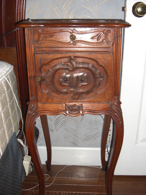 Antique night stand Oxblood top louis VX style