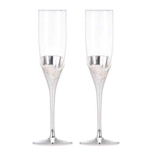 Set 2 NEW Lenox True Love Crystal Champagne Flutes Hearts Pair Silver Plated