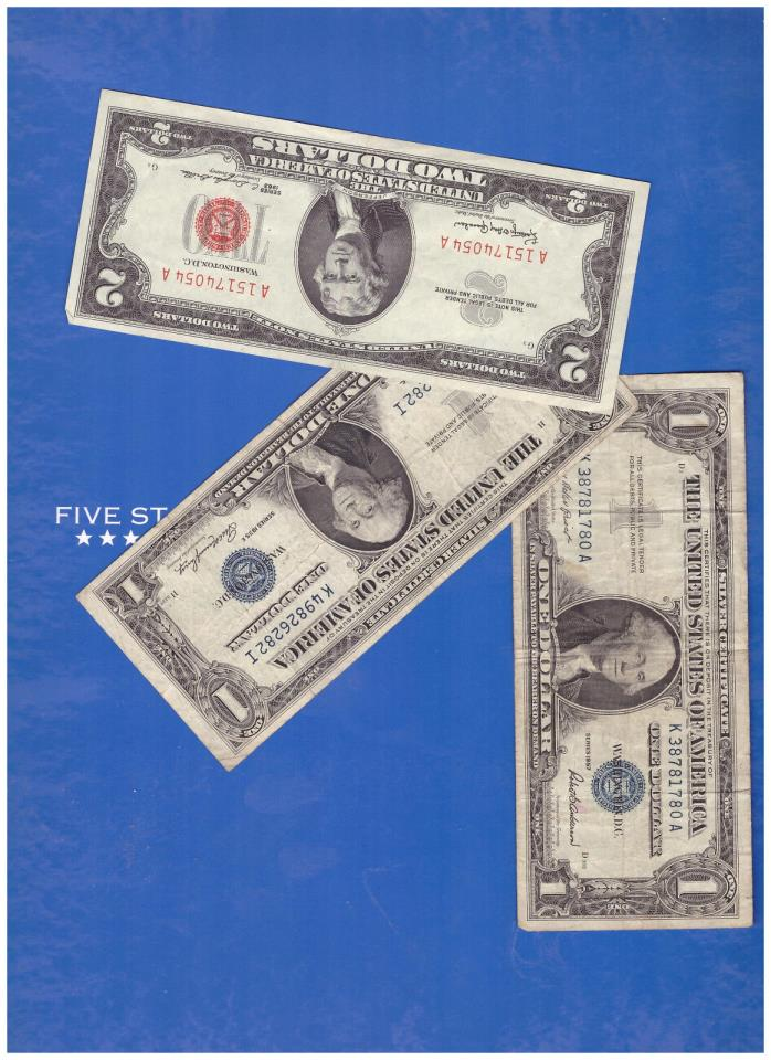 1-1963 2 DOLLAR RED SEAL AND 1-1935 & 1-1957 SILVER CERTIFICATE LOT M397