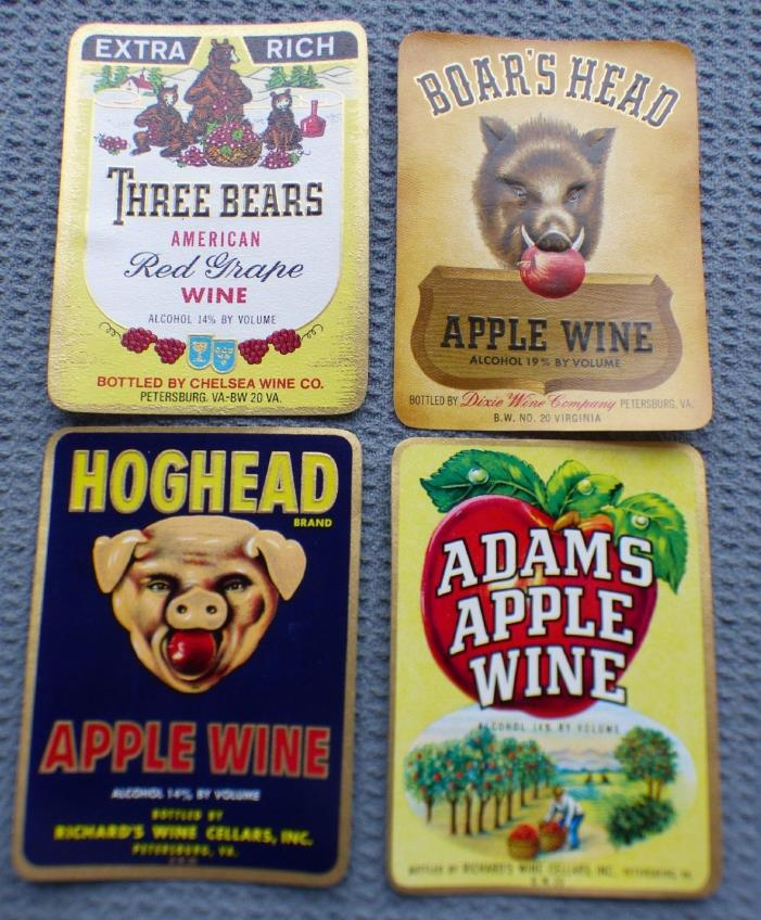 Lot 4 Vintage Wine bottle labels Petersburg Virginia 3 bears Hog Head Originals