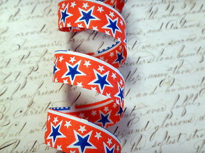 Vintage Red white and Blue Paper Ribbon Fourth of July Decoration Stars