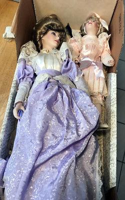 Franklin Mint Heirloom Girls GIBSON GIRLS MOTHER & DAUGHTER PROMENADE DOLLS sach