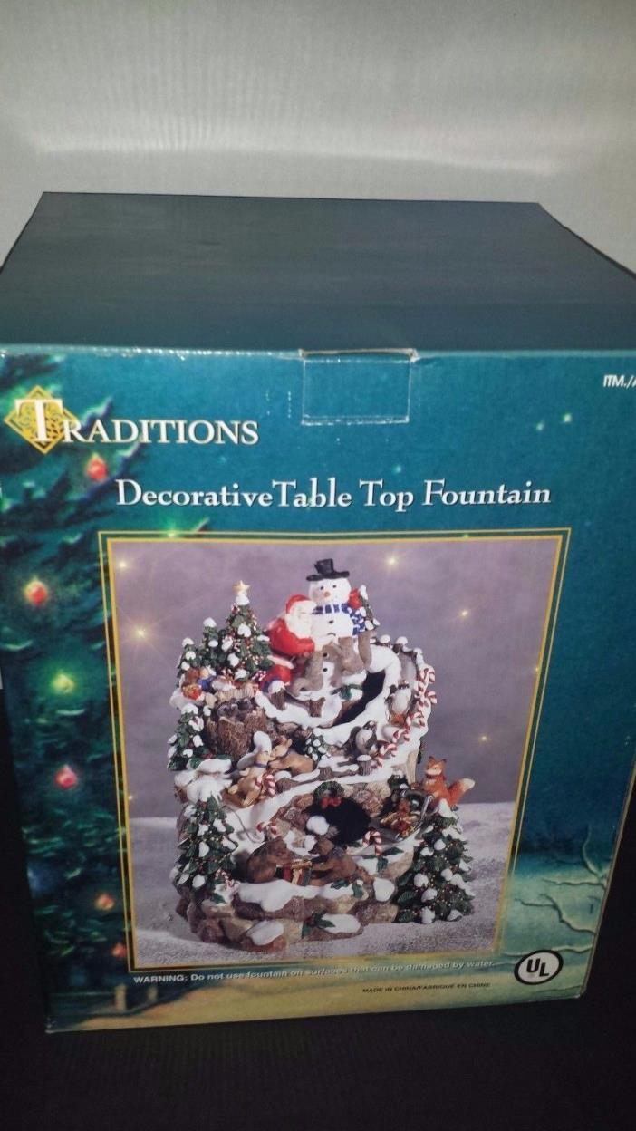 Traditions Decorative Table Top Fountain Santa Skiing Penguins Christmas