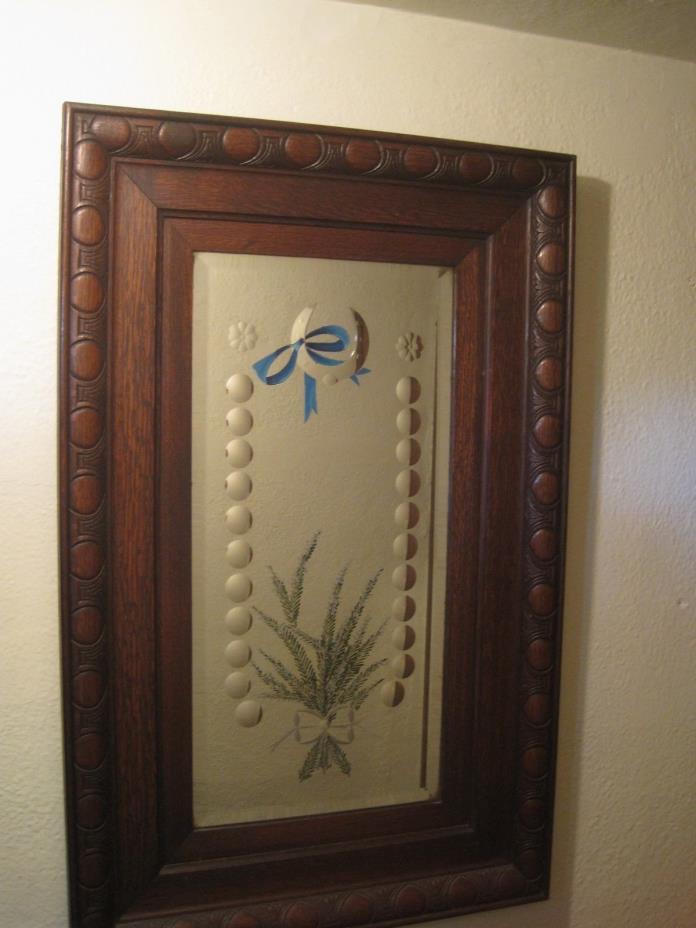 Antique Mirror Oak English Tavern Pub Bullseyes, Reverse Painted Ribbons & Ferns