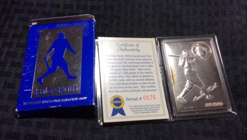 1995 Babe Ruth 100th Anniversary .999 Silver Baseball Card 2.08oz. with COA/Box