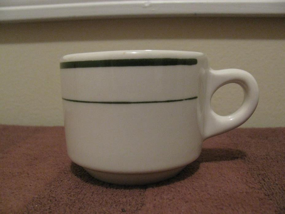 Buffalo China Coffee/Tea Cup Made in USA Double Green Stripe Restaurant Ware