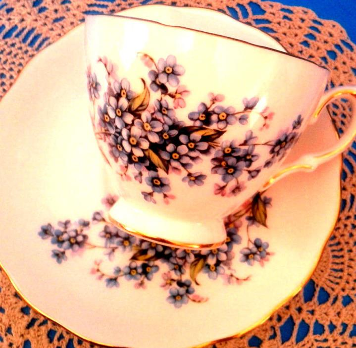 Royal Vale Forget Me Not Teacup and Saucer Blue Forget Me Nots Tea Cup & Saucer