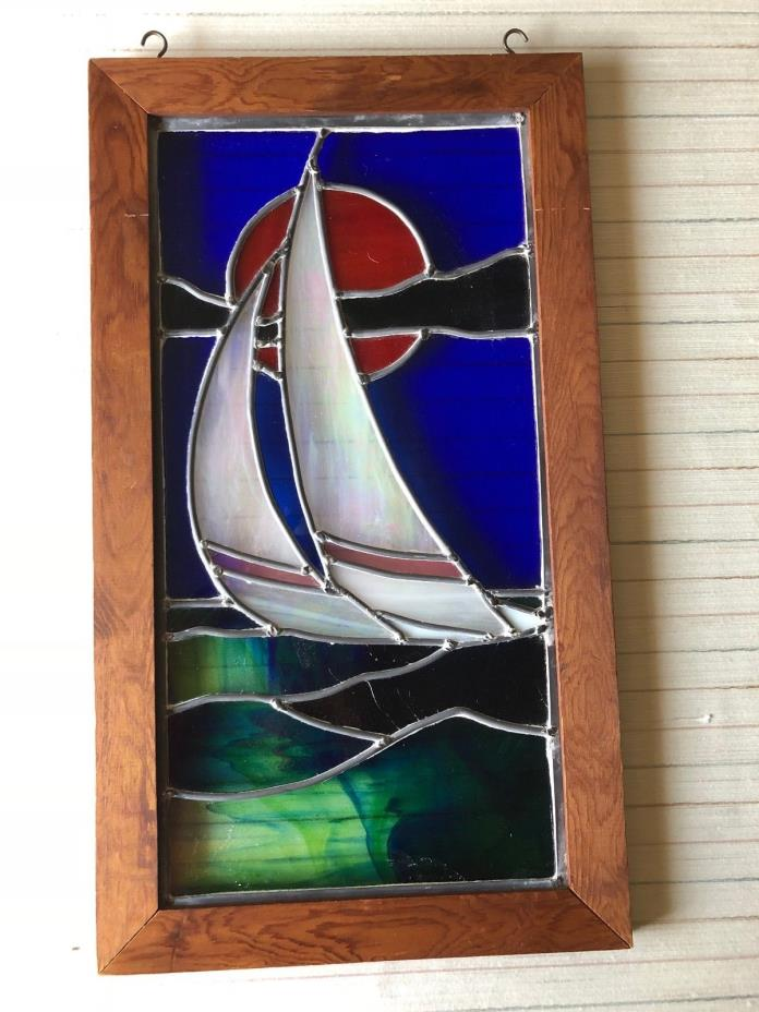 Vintage Stained Glass Sailboat Window Suncatcher w/Wooden Frame, 10