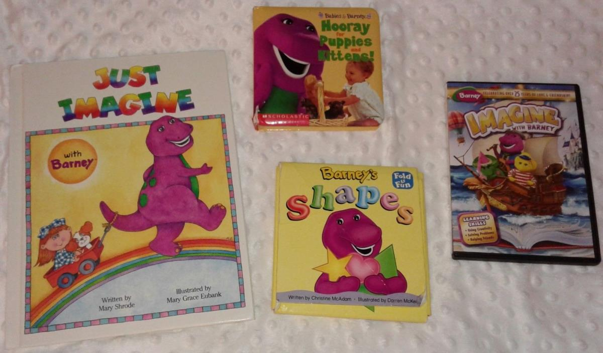 Barney Book & DVD Lot- Fold & Fun Shapes Imagine Puppies Kittens Christmas RARE