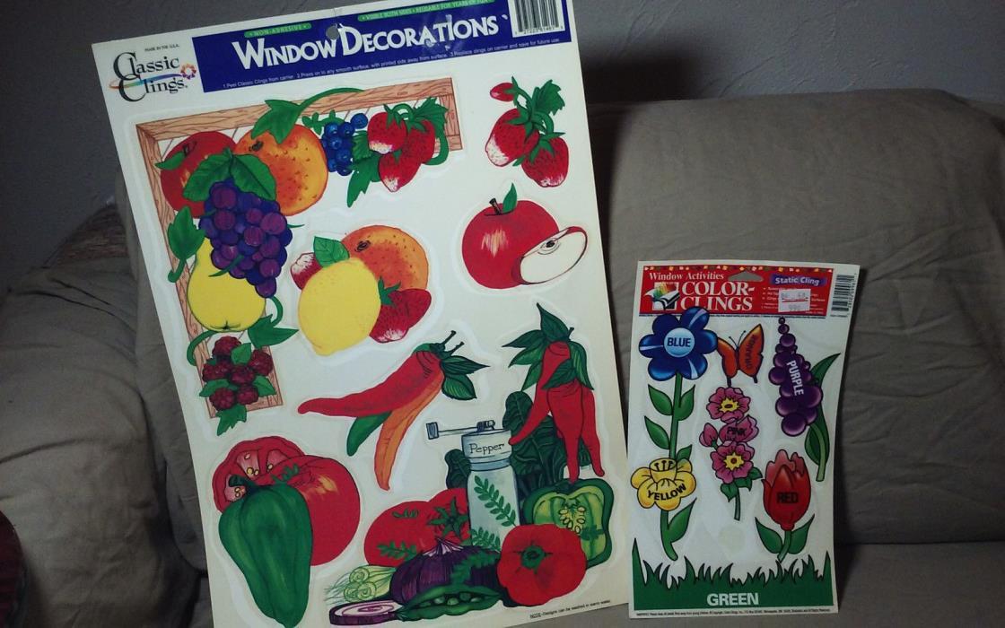 WINDOW CLINGS DECORATIONS VEGETABLE / FLOWERS