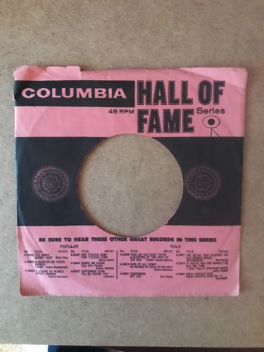 Columbia Records 45 RPM Record Sleeve Hall Of Fame Pink And Black
