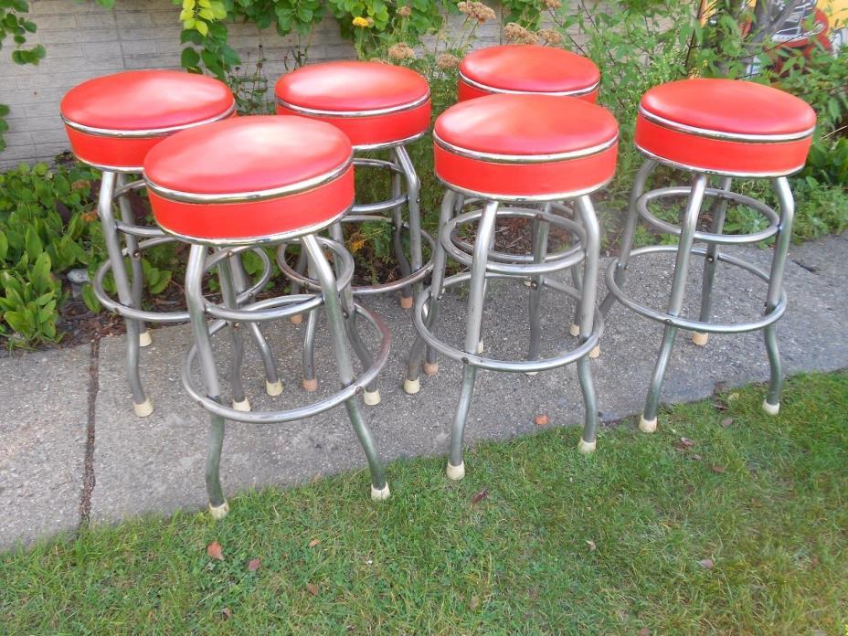 Vtg. COSCO Swivel Chrome & Orange Naugahyde Vinyl Leather Bar Stools Stool Lot 6