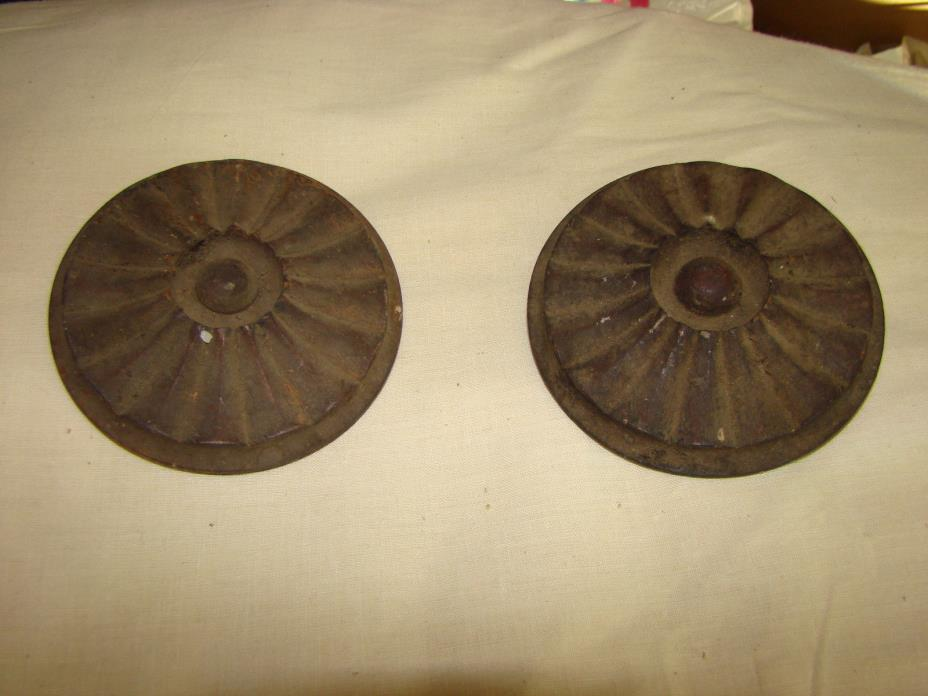2 ANTIQUE Victorian CIRCULAR medallion embellishments matching set OLD 4