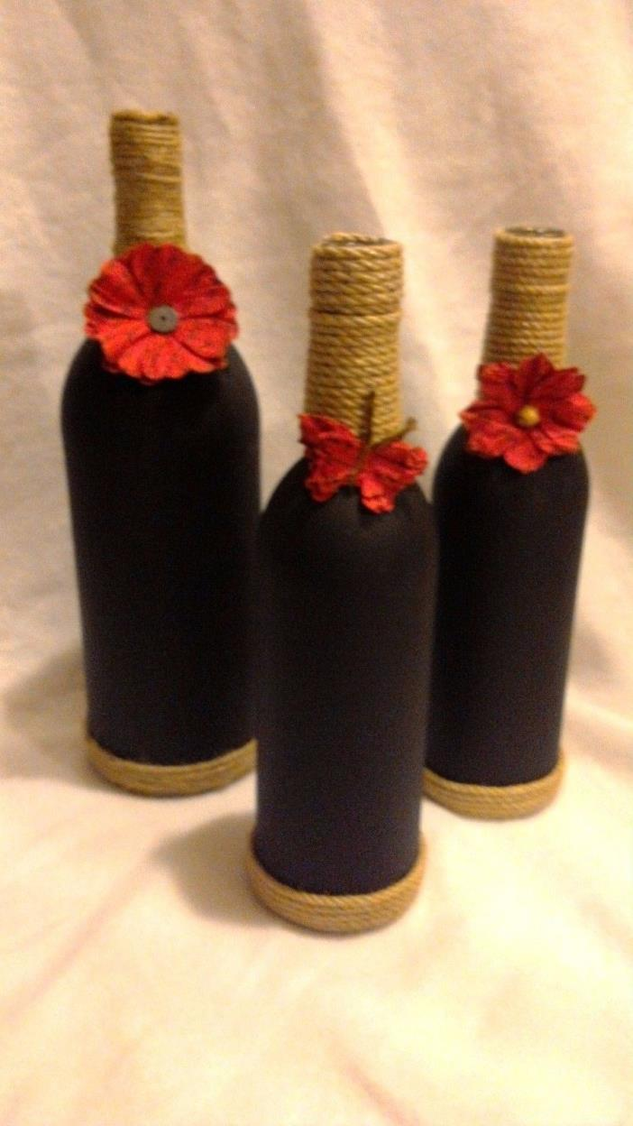 Gift Idea, Decorated Wine Bottles, Flower Vase, home decor