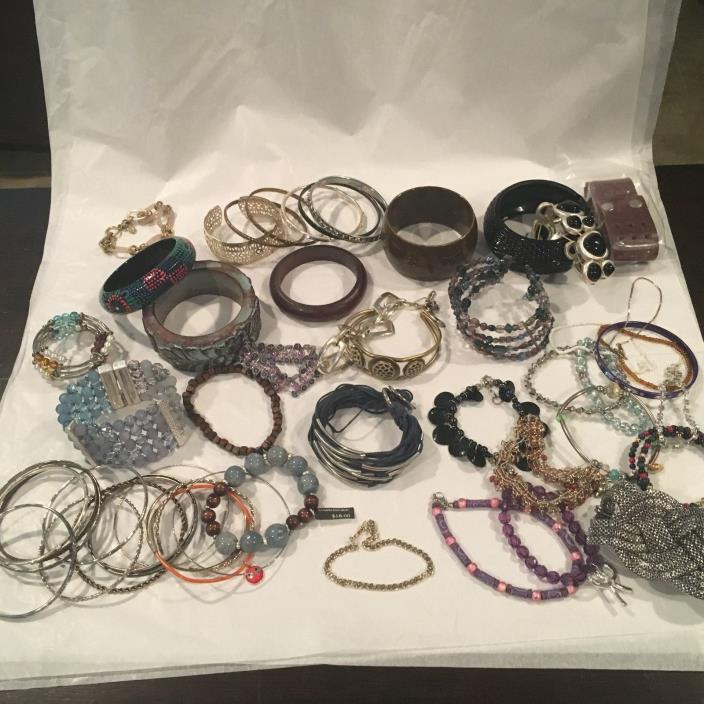 52 BRACELETS Lot Banana Republic Bangles Cuffs Links Wood Beads Acrylic Metal