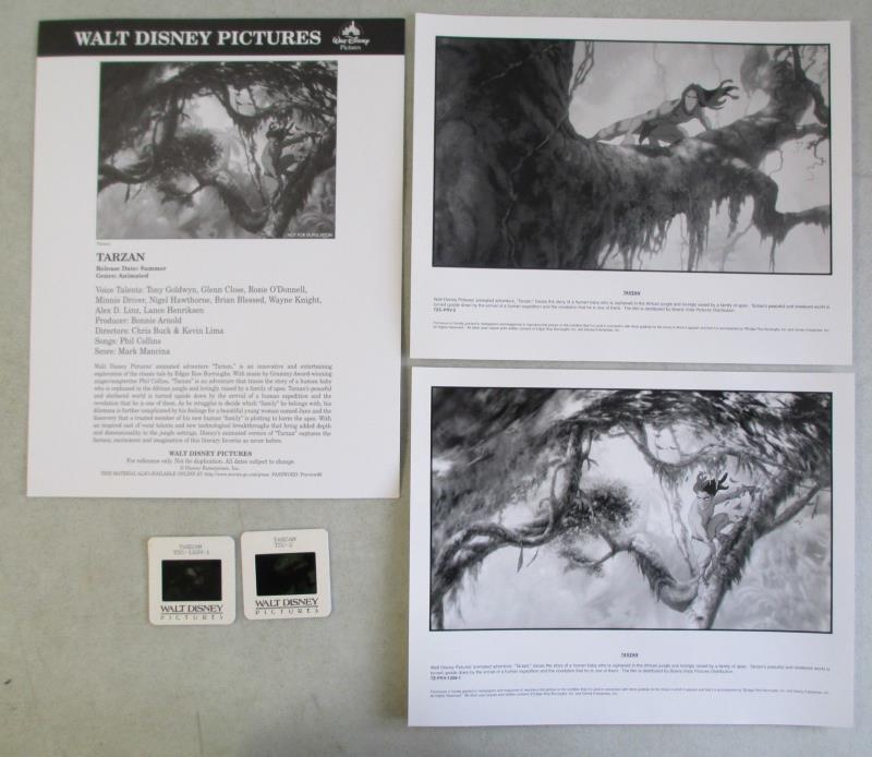 WALT DISNEY PICTURES TARZAN MOVIE PRESS INFO & PHOTO KIT w/ TWO 35mm SLIDES