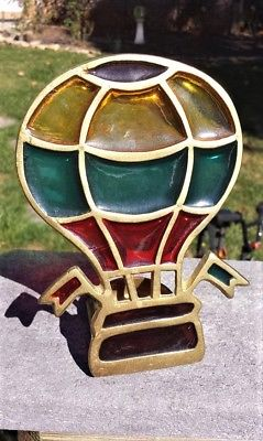Enesco Rare HOT AIR BALLOON Candle Votive Holder STAINED GLASS & BRASS Tea Light