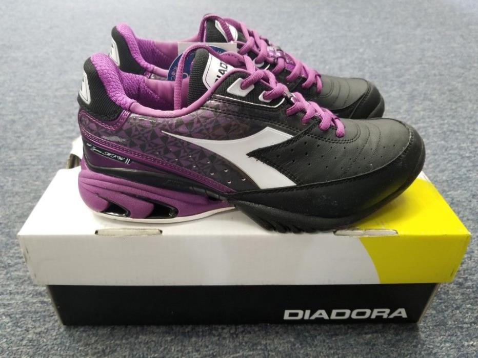 Women's Diadora S.Star K II Tennis Shoes Black/Purple Size 7.5