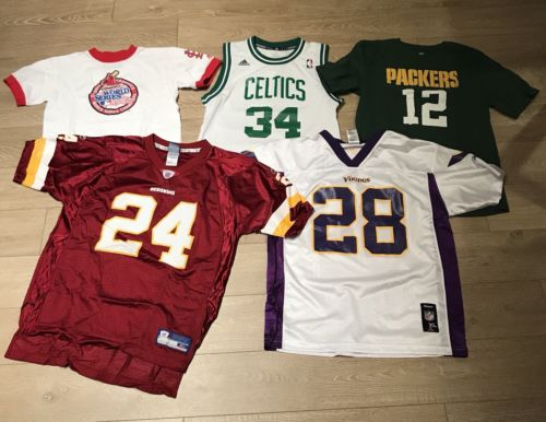 Lot Of 5 Kids Sports Jerseys & Shirts Youth MLB NBA NFL redskins celtics packers