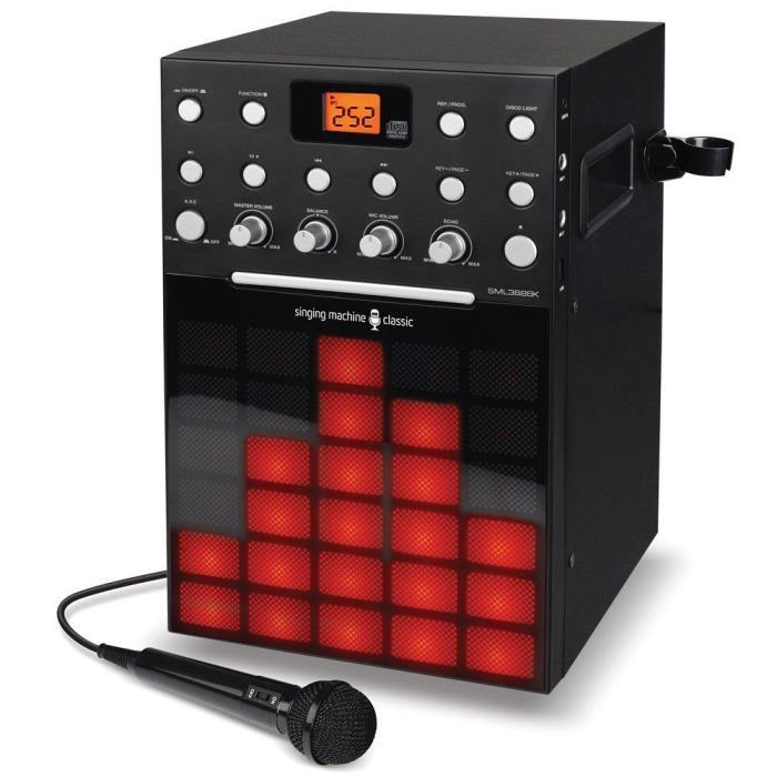 Singing Machine SML388W Karaoke Machine with Music Synchronizing Light Show BLAK