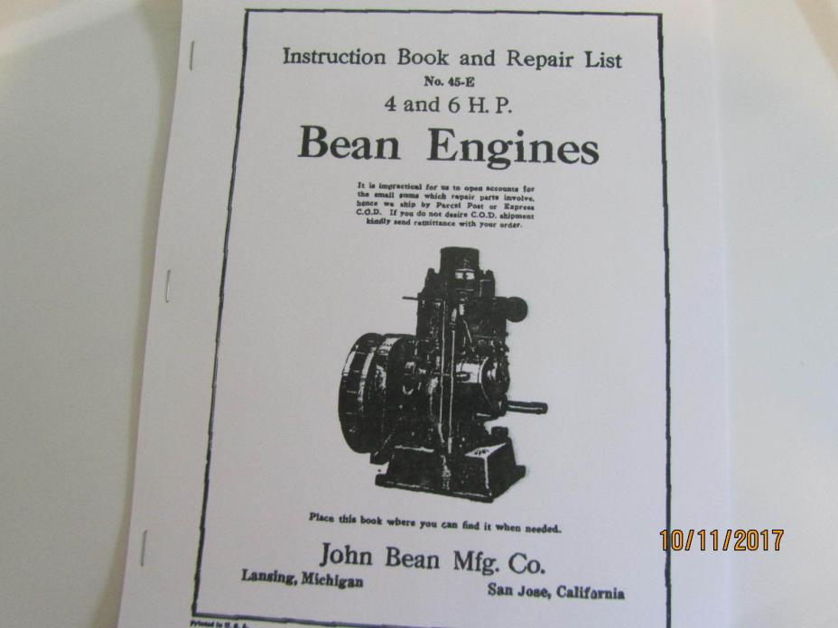 1936John Bean Mfg 4 & 6HP Gasoline Engine Instruction and Repair List Hit Miss