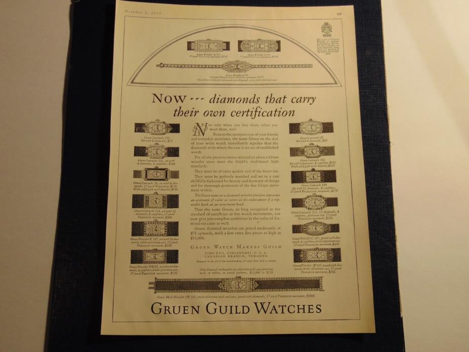 1926-GRUEN GUILD WATCHES The GRUEN WATCH MAKERS GUILD-print ad-A568