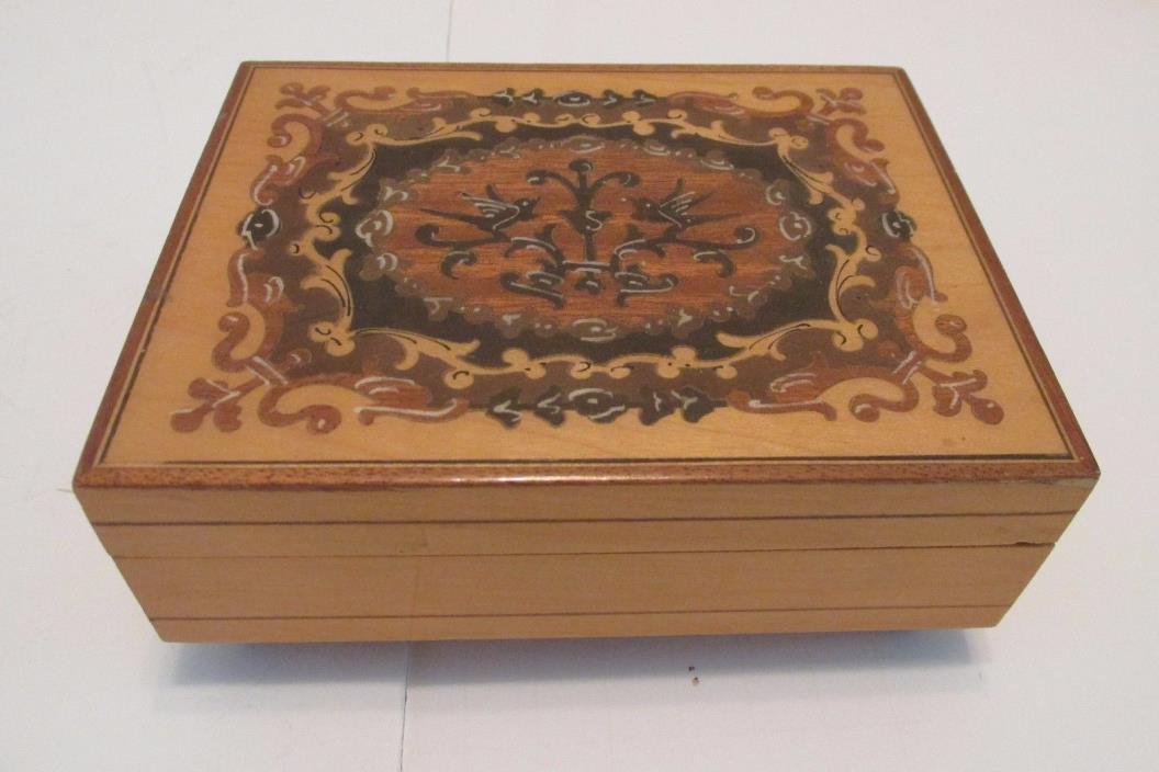 Vintage Inlaid Wood Jewelry Music Box Reuge Swiss Movement Lara's Theme