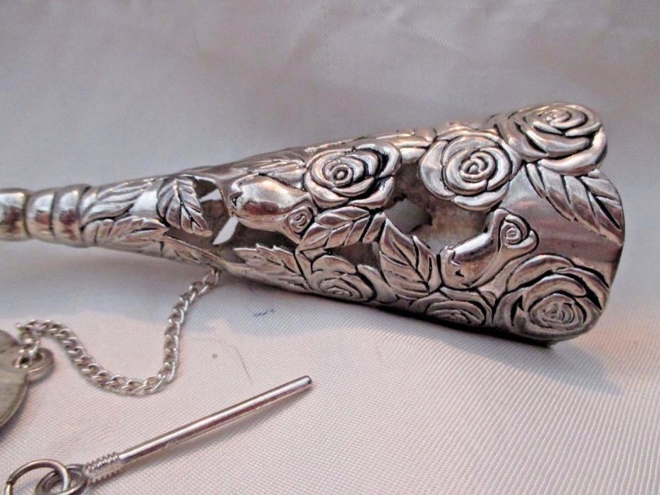 Sheridan Bridal Occasion Bouquet Holder Tussie Mussie Open Rose Design Silver