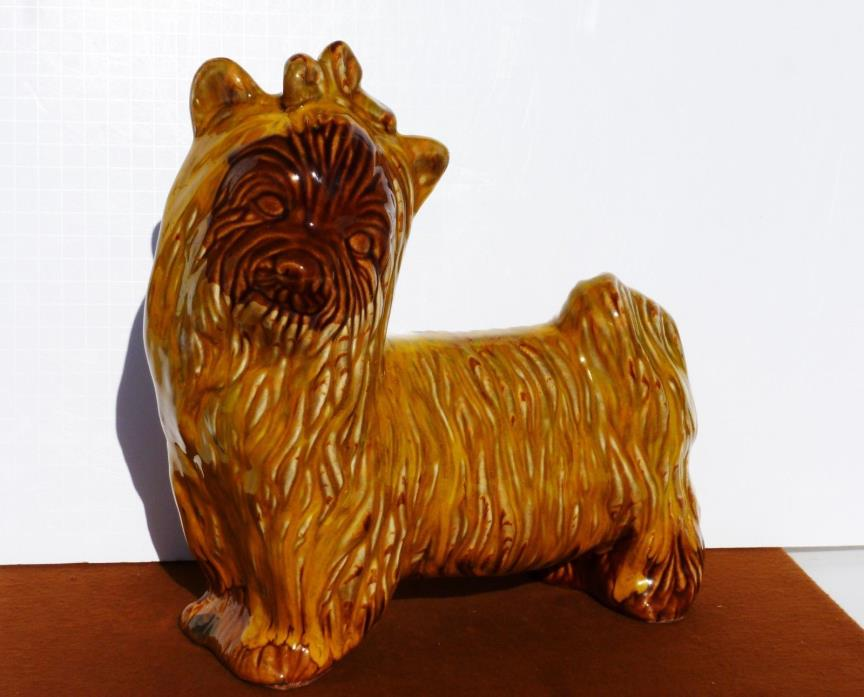 YORKIE Drip Glaze Ceramic Dog Statue Figurine LARGE LIFE SIZE POTTERY 12