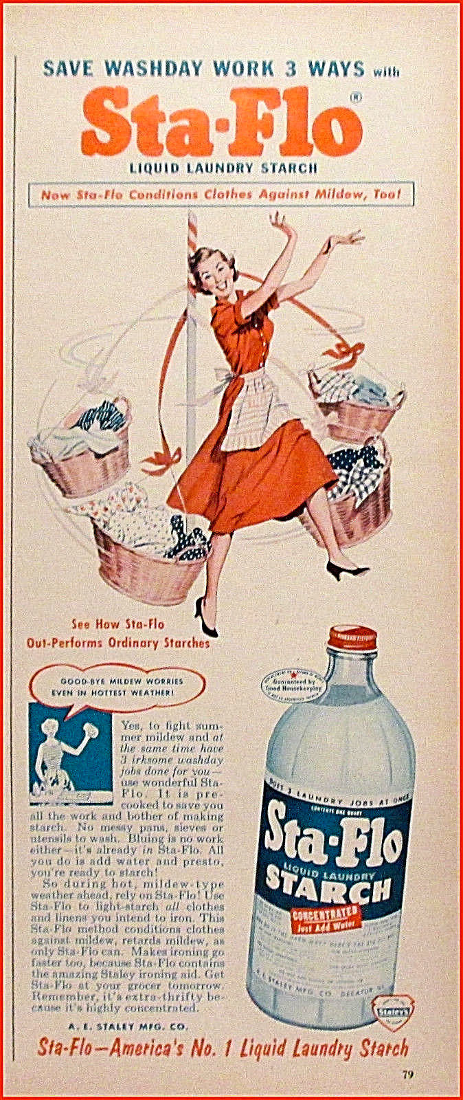 1955 Sta-Flo Laundry Starch Vintage Soap Detergent Clothes Basket Print Ad