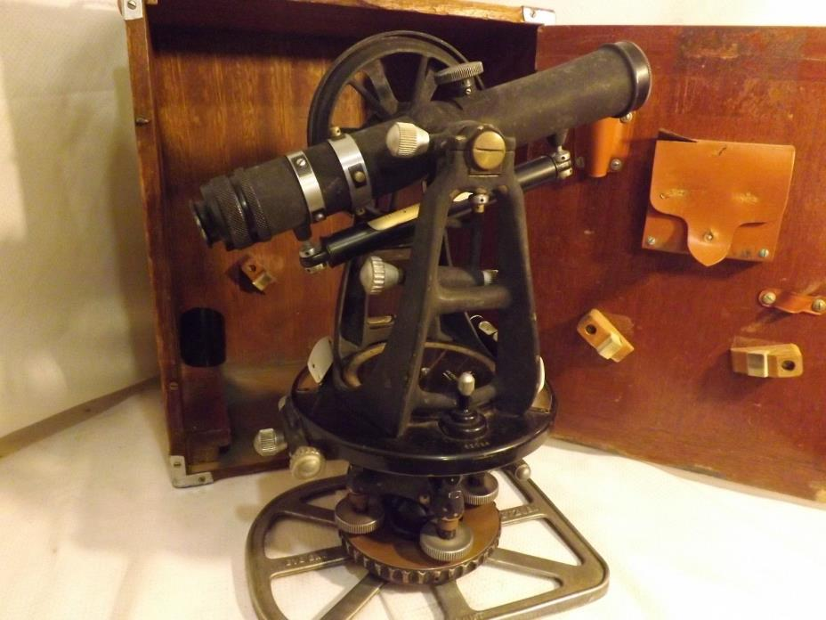 Dietzgen 6000 Series Vintage Transit Land Surveying Equipment w/ Wooden Case