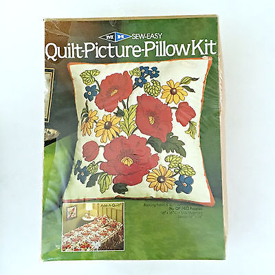 VTG Sew Easy QUILT PICTURE PILLOW Complete CRAFT KIT Throw NIB Floral Flower NEW