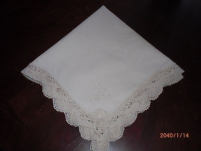 Antique Guest Towel/Napkin Embroidered Flowers-Ivory Crocheted edges 17