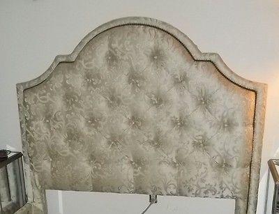 NEW, QUEEN BED,CUSTOM UPHOLSTERED,TUFTED DAMASK FABRIC WITH NAILHEAD TRIM