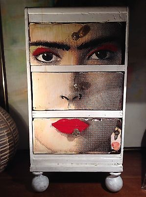 SMALL HAND CRAFTED FRIDA KAHLO DECOUPAGE STORAGE CABINET SIDE TABLE