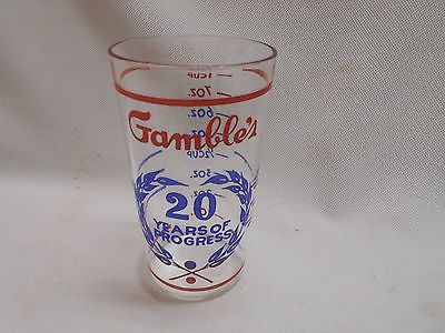 vintage Gamble's 20 Years of Progress measuring glass drink tumbler 1 cup