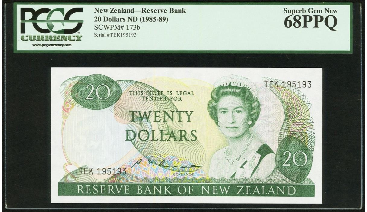 $20 ND 1985-89 New Zealand - Reserve Bank PCGS Superb Gem New 68 PPQ