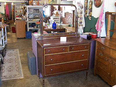 ANTIQUE RARE 1930'S METAL DRESSER WITH MIRROR MADE BY SIMMONS FURNITURE