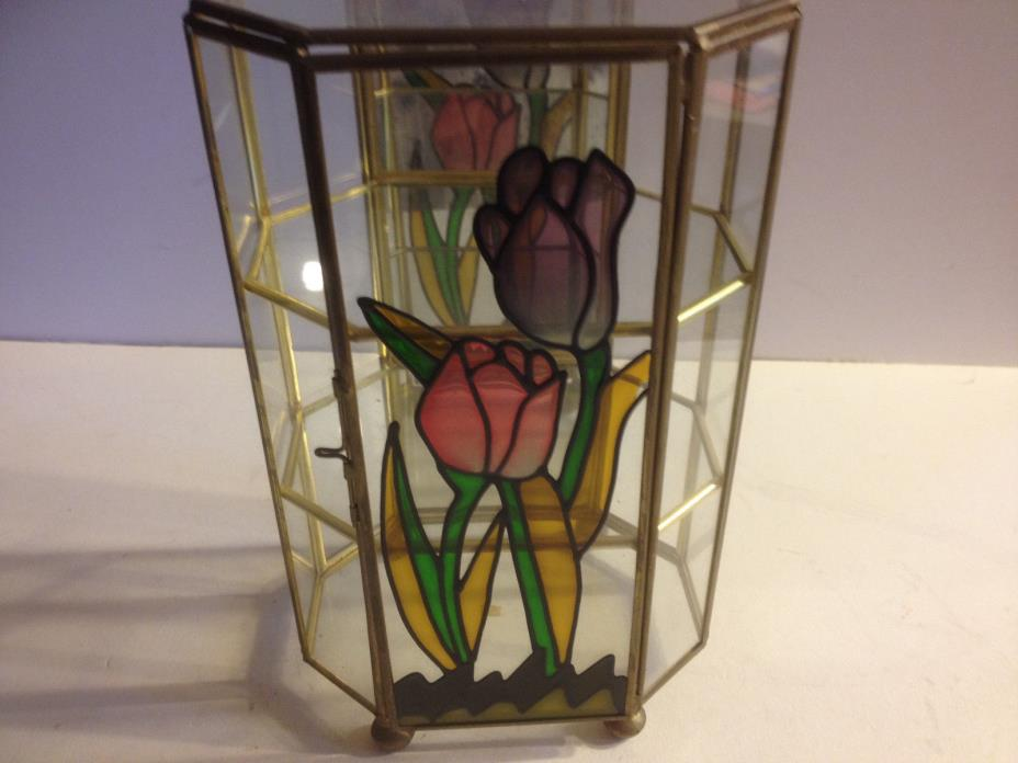 GLASS & BRASS COLLECTIBLE DISPLAY CURIO CABINET TULIP STAINED GLASS TABLE TOP