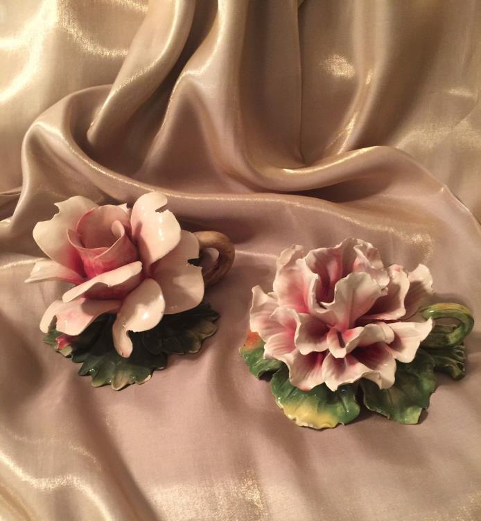 Vintage Candle Holders Capodimonte  Porcelain