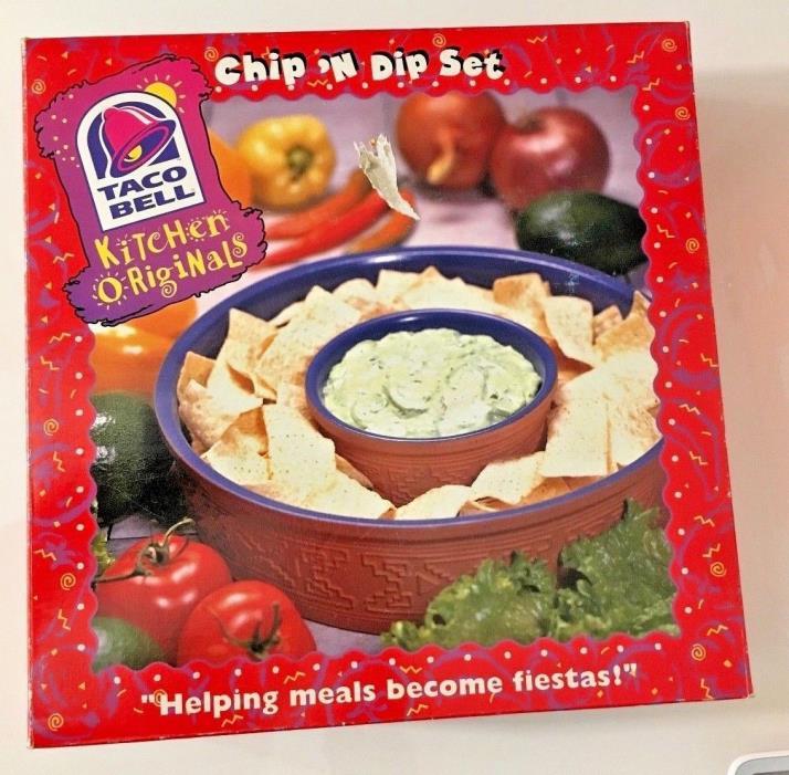 Rare Taco Bell Chip N' Dip Set Pottery Terra Cotta Vintage - Kitchen Originals!