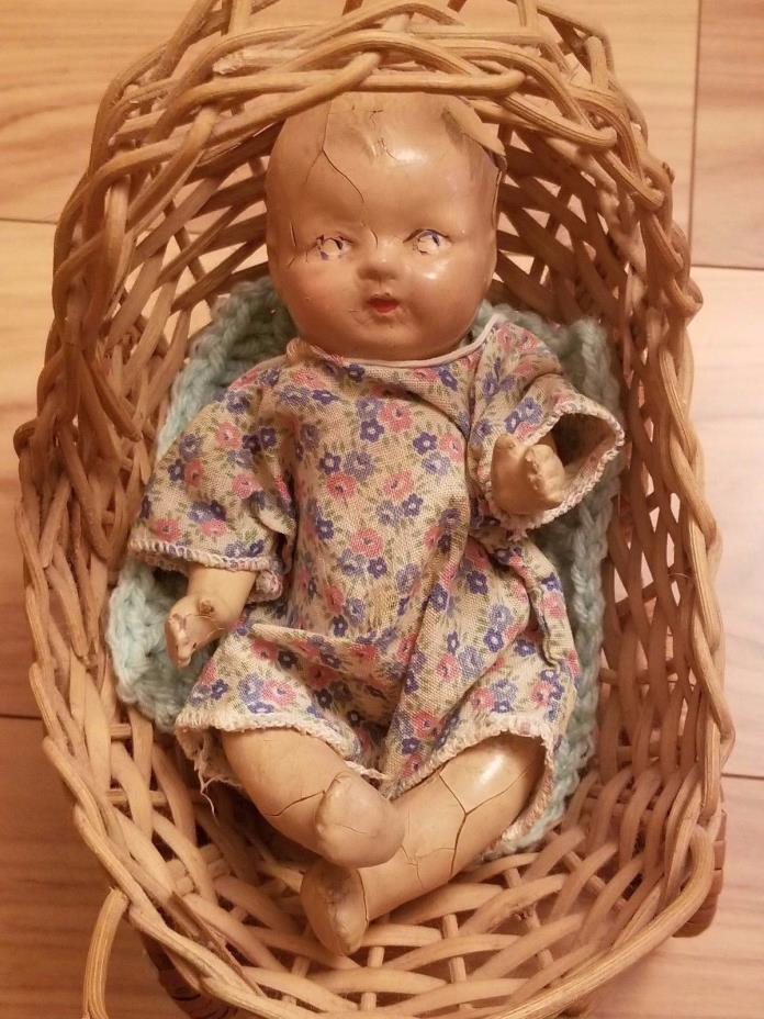 Small Vintage Composition Baby Doll & Wicker Baby Buggy
